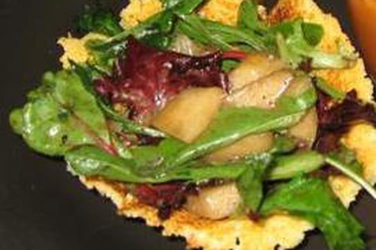 Salade de roquette et poires en nid de parmesan