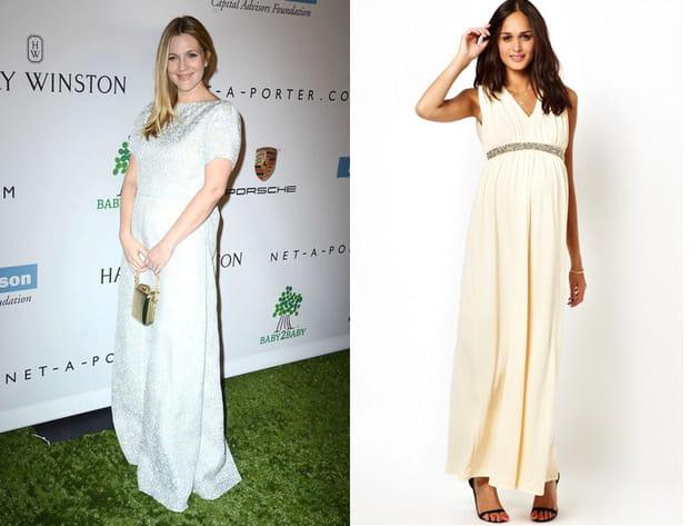 Drew Barrymore: une robe beige