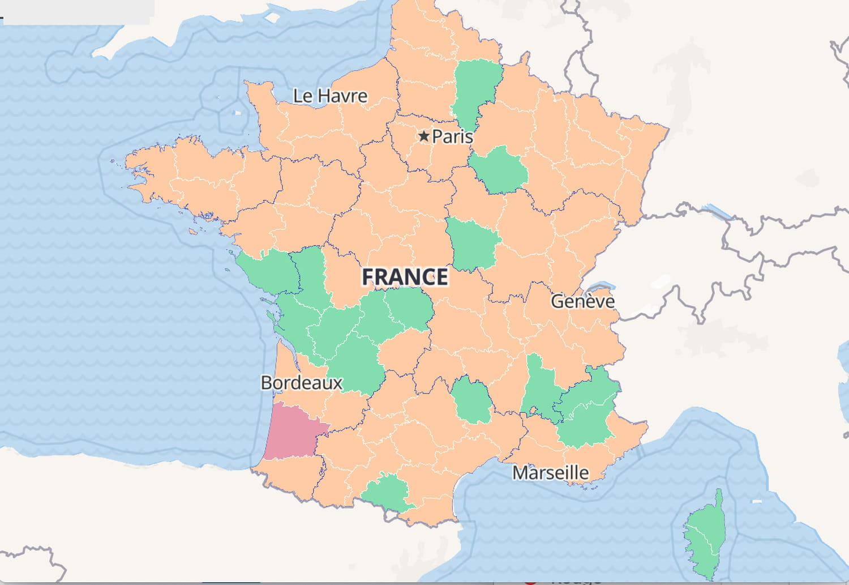 CARTE COVID: France, région, taux d'incidence, voyage, pays