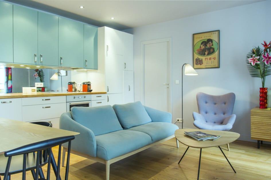 Un 37 m² bleu et blanc tout en douceur