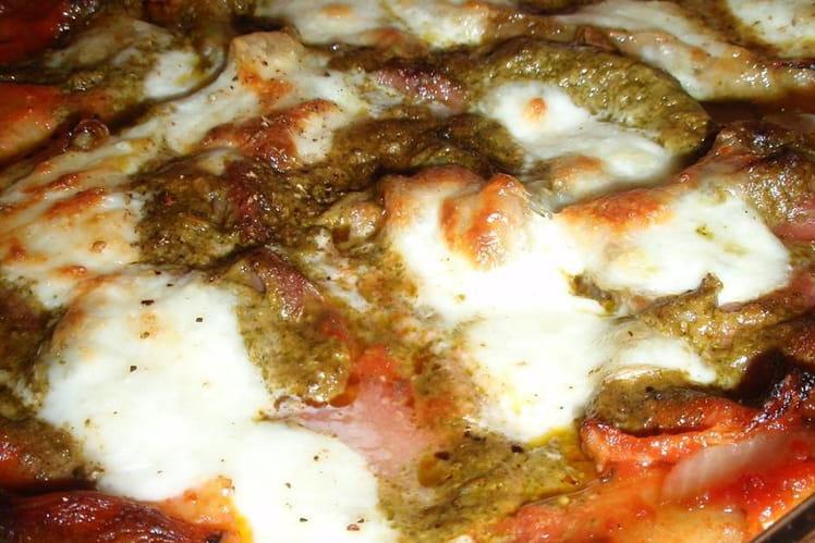 Lasagnes jambon cru, pesto & mozzarella
