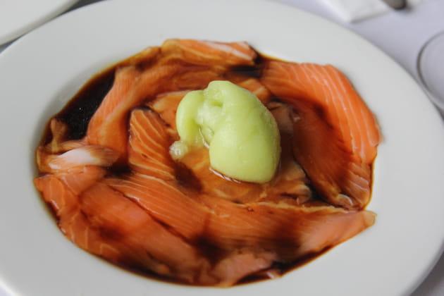 Sashimi de saumon, sorbet wasabi