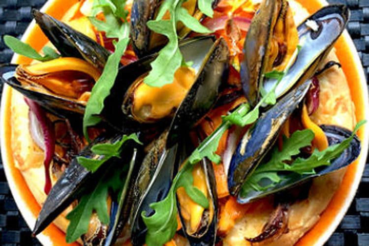 Pizza aux légumes etMoules de bouchot de la Baie du Mont-Saint-Michel