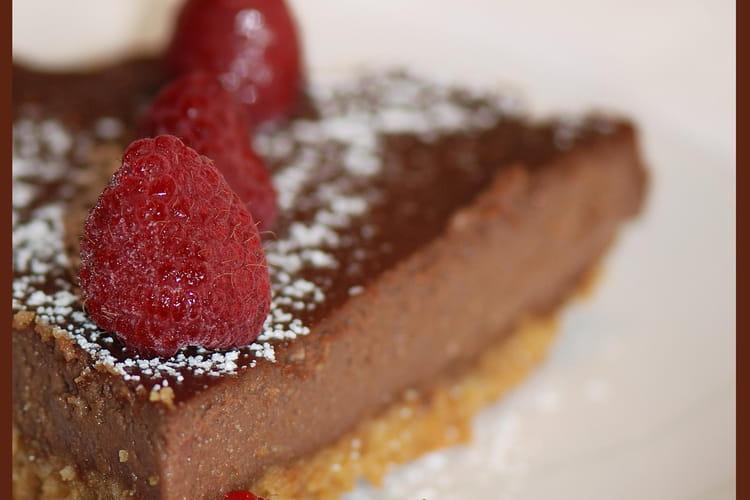 Cheesecake au chocolat sur sablés bretons