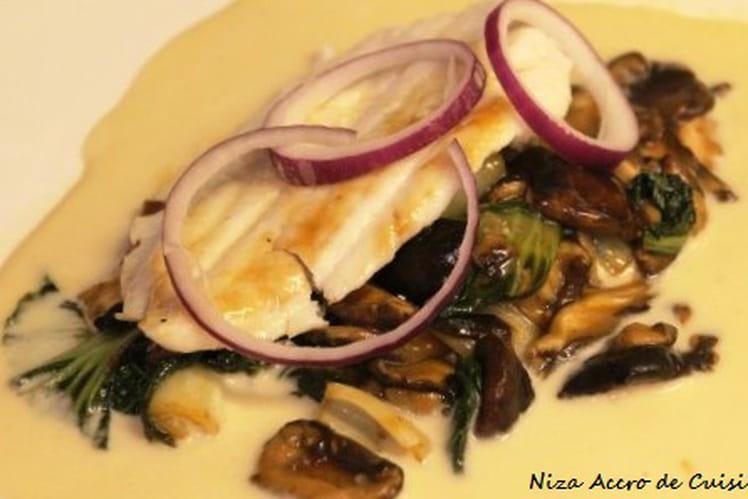 Filet de sole grillé au paksoï et champignons shiitakés frais