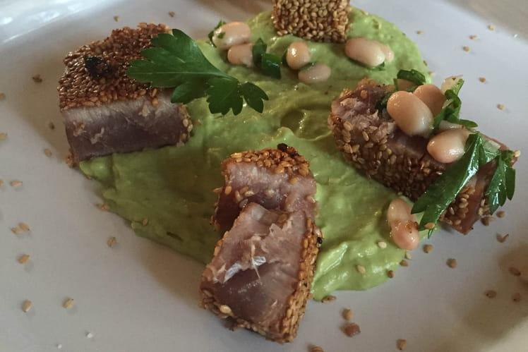 Tataki de thon et ses haricots coco coriandre