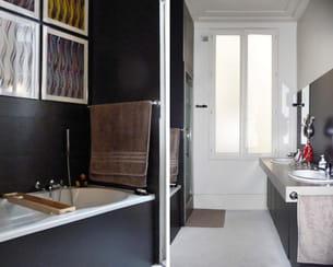 après : ambiance 'galerie d'art' dans la salle de bains