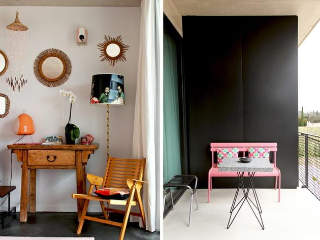 Terrasse noire et rose