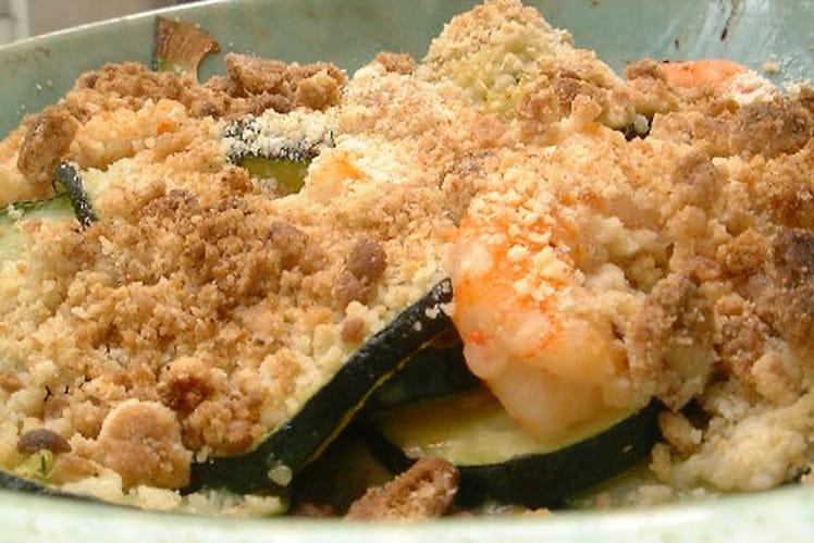 Crumble de courgettes et crevettes