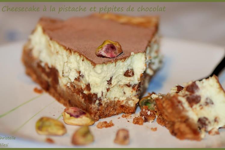 Cheesecake à la pistache et pépites de chocolat