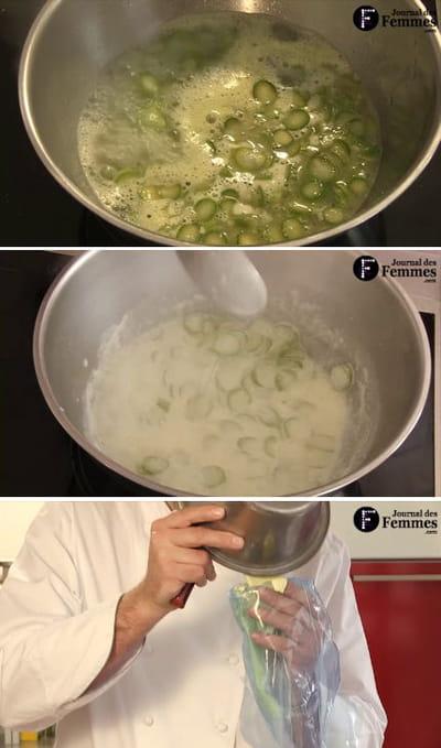 préparation de la bavaroise d'asperges vertes