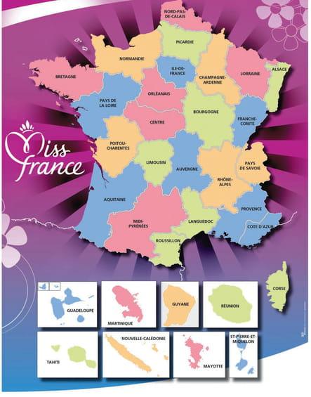 La carte des régions de Miss France