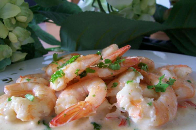 Crevettes sauce persillée