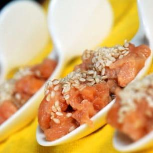 tartare de saumon aux accents asiatiques