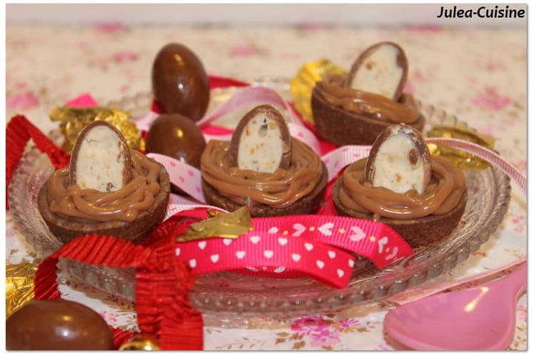 Tartelettes cacao, ganache chocolat Kinder et caramel