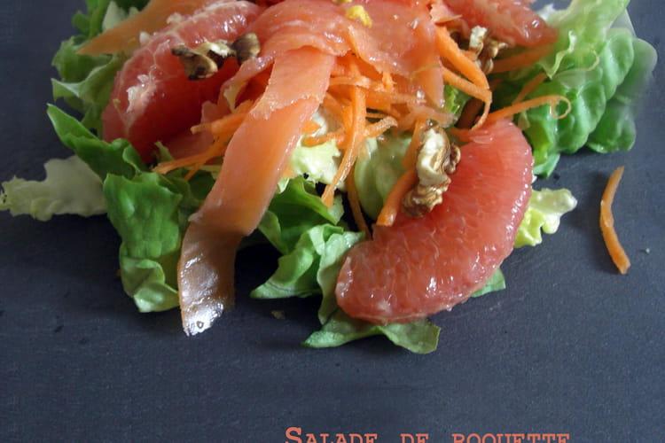 Salade de roquette, pamplemousse et saumon