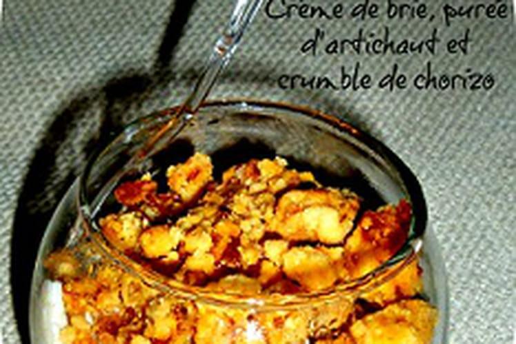 Verrines de crème de brie, purée d'artichaut et chorizo