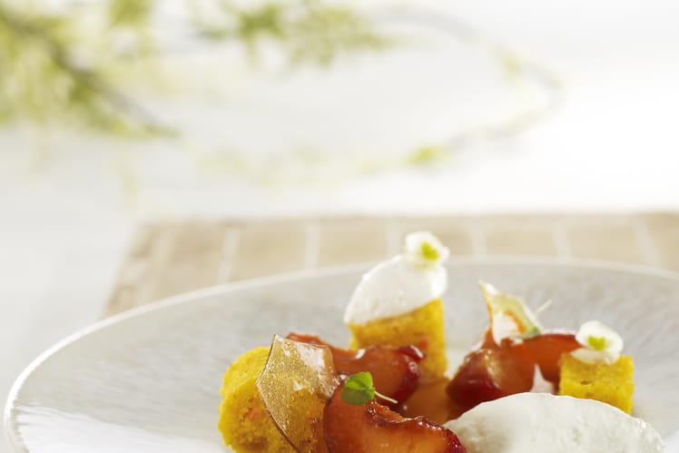 Abricot rôti, faisselle Rians au sirop d'érable et carrot cake à la fleur d'oranger