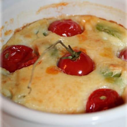 clafoutis aux fèves et aux tomates cerises