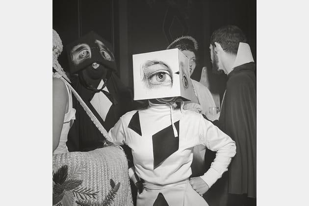 Stanley Kubrick, a partygoer wearing a Cubist headdress, 1949