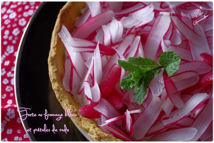 Tarte au fromage blanc et pétales de radis