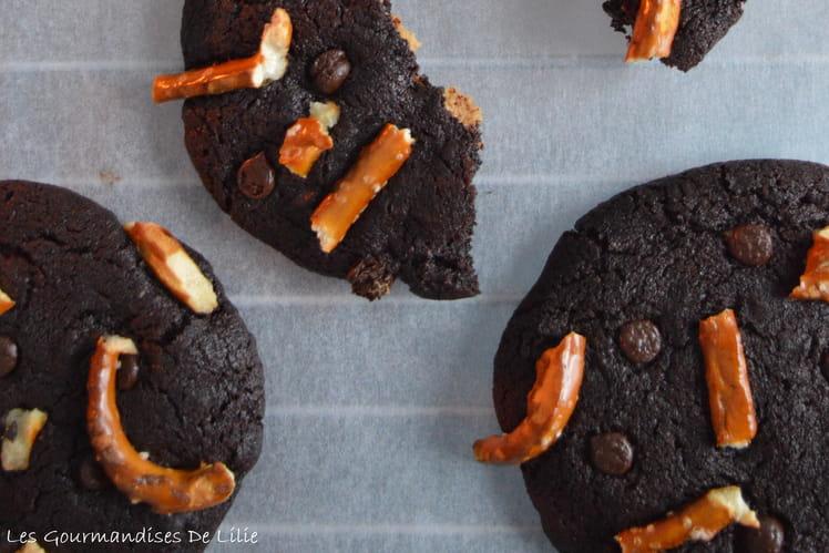 Cookies au chocolat, beurre de cacahuète et bretzels