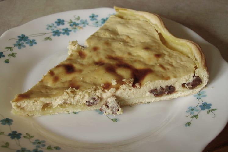 Tarte au fromage blanc au citron et raisins secs