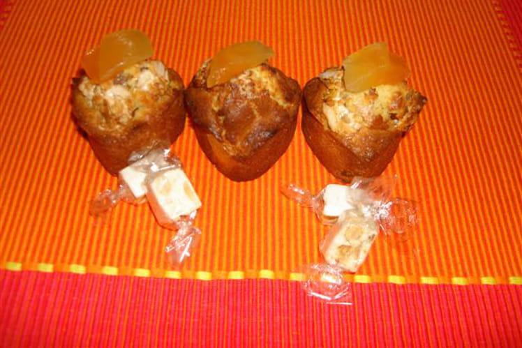Coeurs de muffins au melon confit et pépites de nougat au miel de lavande