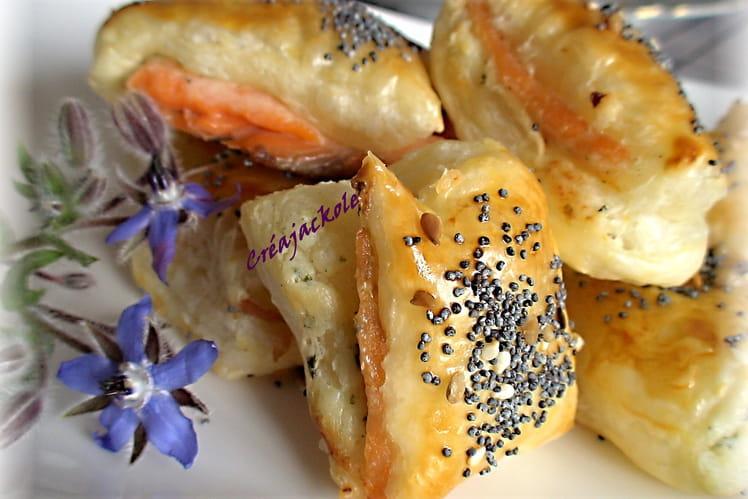 Petits feuilletés au saumon fumé et fromage Tartare ail et fines herbes