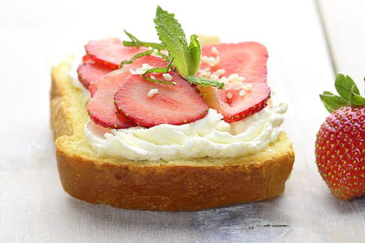 Tartine fraise et menthe