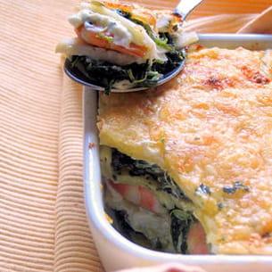 lasagnes saint-jacques, crevettes, fenouil et pistache