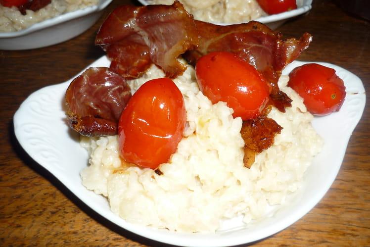 Risotto au gorgonzola, tomates cerise et speck