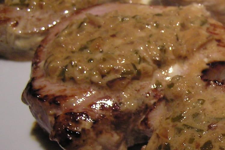 Médaillons de veau, sauce aux échalotes