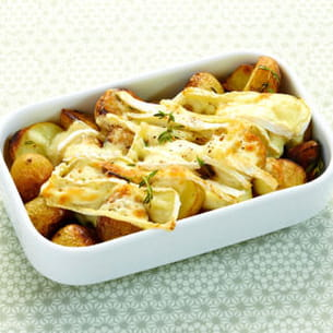 gratin de pommes de terre grenaille au thym et brie fondant
