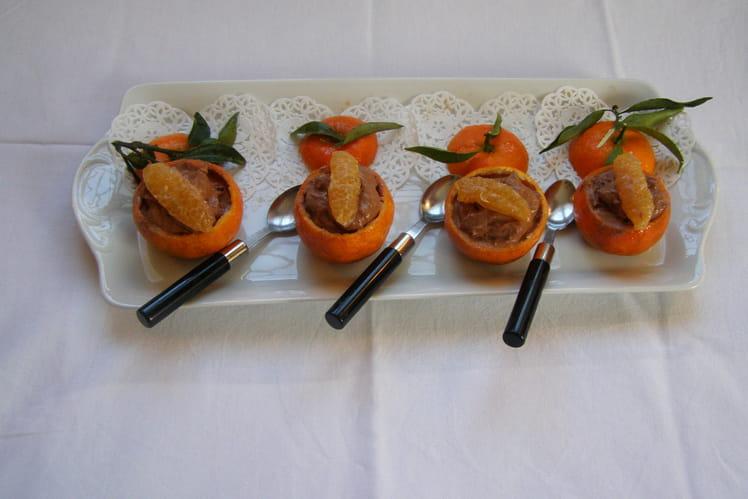 Coques de mandarines à la mousse au chocolat
