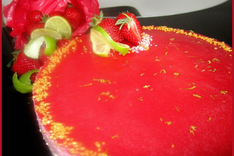 Bavarois citron-fraise insert citron vert-basilic