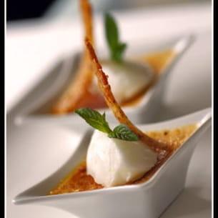 crème brûlée passion et sorbet au citron