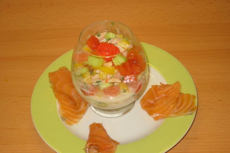 Verrines de saumon au lait de coco