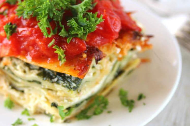 Lasagnes végétariennes aux épinards frais, ricotta et tomates cerises