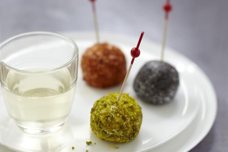 Sucettes chorizo, pistaches, pavot au Carré Frais