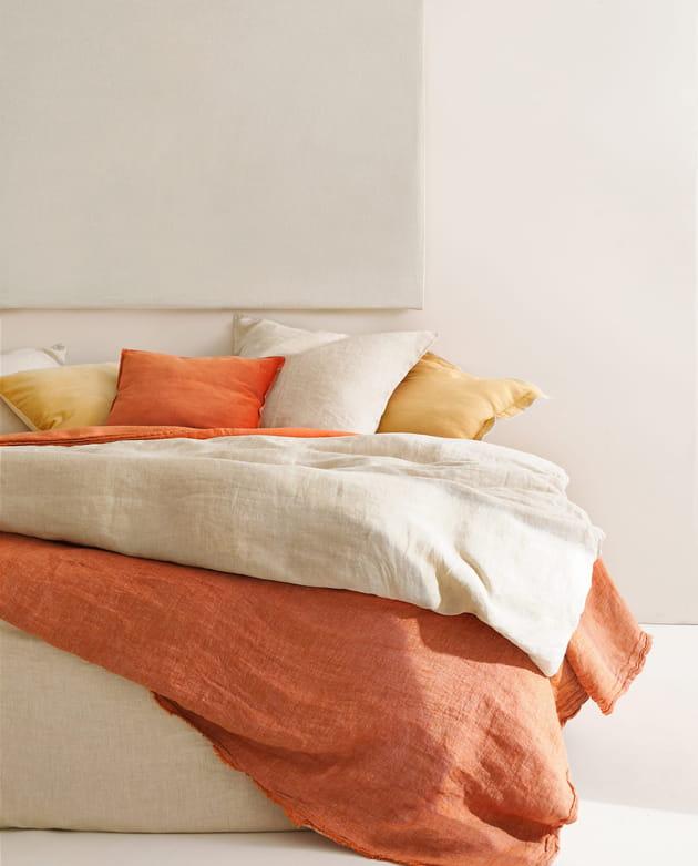 linge de lit en lin zara home. Black Bedroom Furniture Sets. Home Design Ideas
