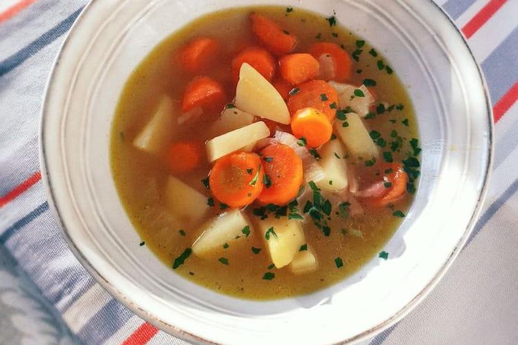 Soupe de carottes et lardons fumés