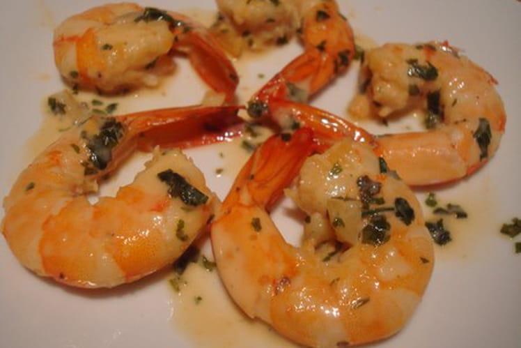 Crevettes flambées au muscat du cap Corse