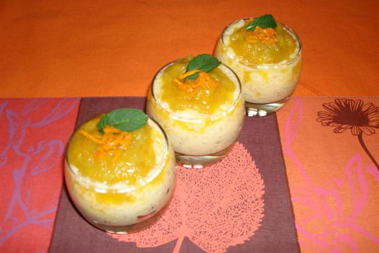 Riz au lait au sirop d'orgeat et confiture de rhubarbe