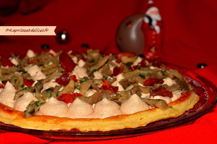 Tarte fine foie gras, pleurotes et chips de jambon de serrano