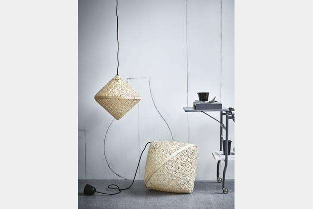 abat jour en bambou laqu. Black Bedroom Furniture Sets. Home Design Ideas