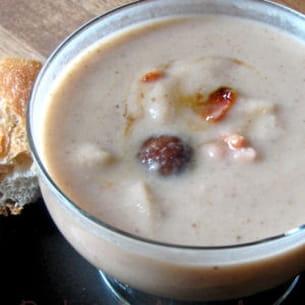 velouté marrons-céleri-parmesan, lardons caramélisés