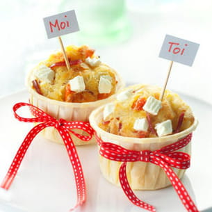 muffins tomates confites, coppa et caprice des anges