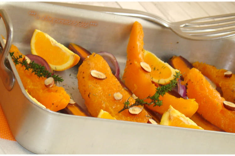 Potiron, carottes violette, oignon rouge rôtis au thym, à l'orange et aux noisettes