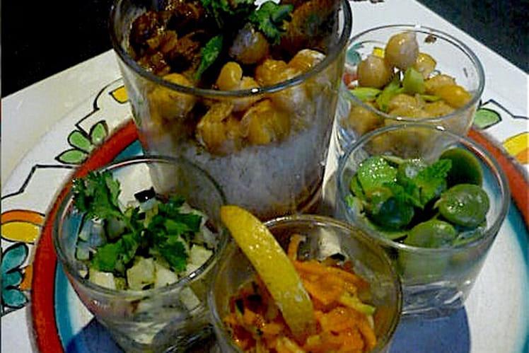 Verrine de couscous végétarien et salades Mamounia